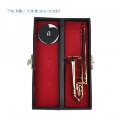 Mini Trombone With Stand Base Musical Instrument Goldplated Miniature Trombone