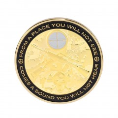 Round Shape Meaningful Gold Plated Soldier Sniper Commemorative Coin Gift