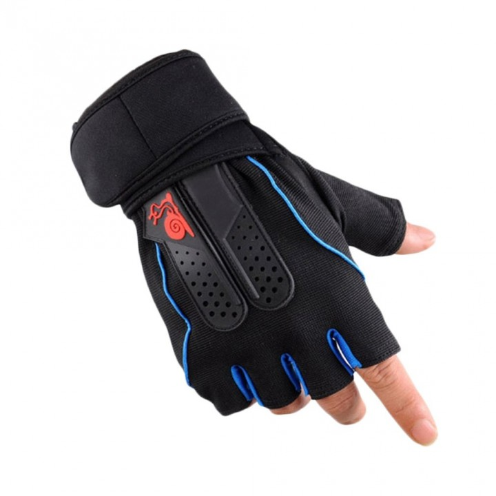 Men's Weight Lifting Gym Fitness Workout Training Exercise Half Gloves blue