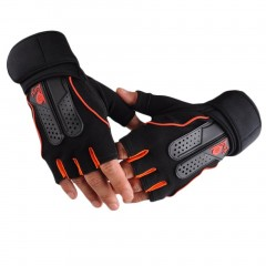 Men's Weight Lifting Gym Fitness Workout Training Exercise Half Gloves orange