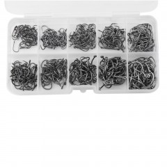 500pcs 10 Sizes 3# - 12# Black Silver Fish Fishing Sharpened Hooks With Box