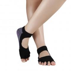 Comfort Durable Yoga Pilates Socks Half Toe Ankle Grip Five Finger No-Slip 1Pair