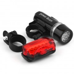 5 Water Resistant LED Bike Bicycle Head Light Rear Safety Flashlight Bracket black default
