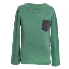 Han Edition Round Neck Long Sleeve Solid Color Chi BLACKISH GREEN 100