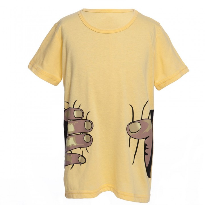 Novelty Round Collar Short Sleeve Fingers Print Bo YELLOW 100