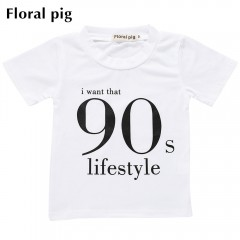 Floral pig Boys T-shirt Cotton Short Sleeve Letter WHITE 120