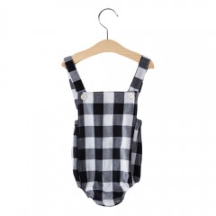 2pcs Babies Lattice Rompers with Scarf BLACK 70