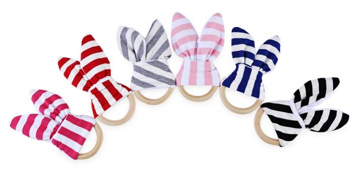 1pc Babies Striped Wool Teething Ring Teether