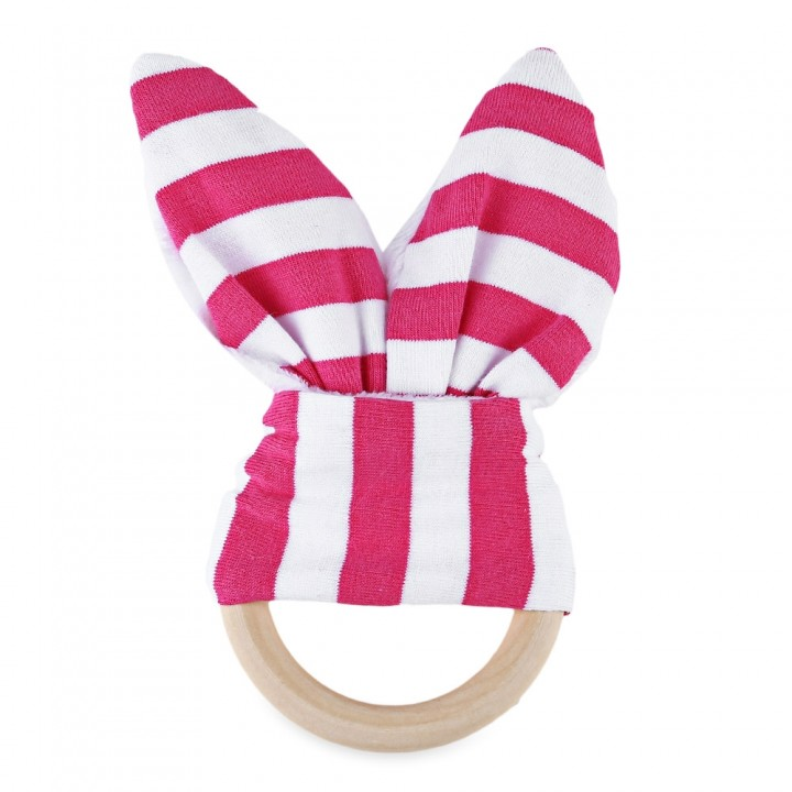 1pc Striped Wool Teething Ring Teether for Babies PLUM STRIPE