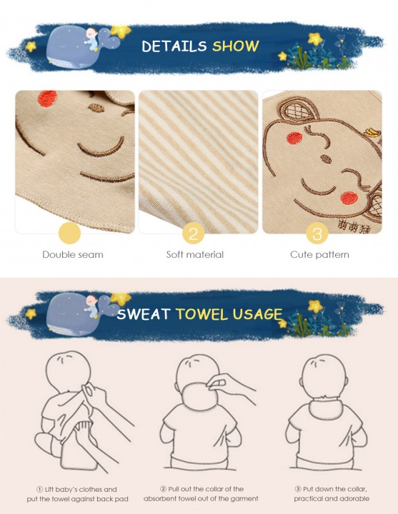 Famirosa Baby Back Sweat Towel Children Kids Wipes Wicking Cotton Washcloth