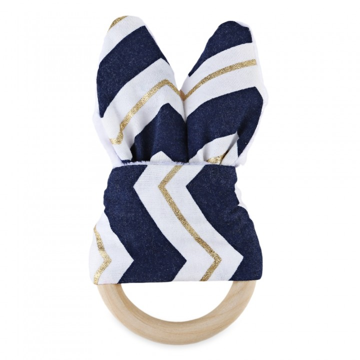 1pc Sweet Wood Teeth Wing Ring for Babies NAVY BLUE + GOLDEN RIPPLE