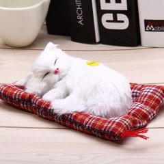 Simulation Animal Sleeping Cat Craft Toy with Soun WHITE