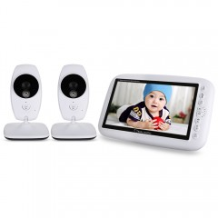 7.0 inch 2.4GHz Wireless TFT LCD 2 Camera Video Ba WHITE UK PLUG