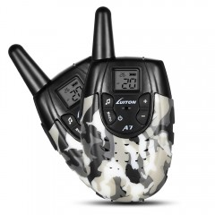 Pair of Luiton A7 Walkie Talkies for Kids GRAY WHITE CAMOUFLAGE US PLUG