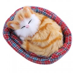 Cute Simulation Sounding Sleeping Cat Plush Doll w GOLD BROWN