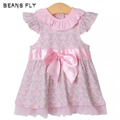 beans fly Baby Girls Toddler Short Sleeve Bow Prin LIGHT PINK 12M