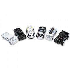 6pcs Mini Alloy Police Vehicle Die-cast Model Car  WHITE AND BLACK