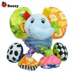 SOZZY Pull Shock Lathe Hanging Rattles Baby Traini MULTI ELEPHANT