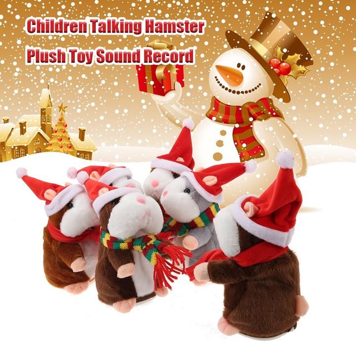 Christmas Style Kawaii Talking Hamster Plush Toy Sound Record Children