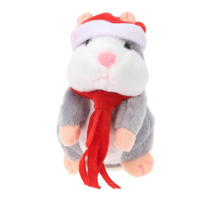 Christmas Style Kawaii Talking Hamster Plush Toy Sound Record Children DEEP BROWN COLORFUL SCARF
