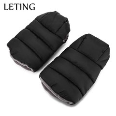 LETING Baby Stroller Warmer Water Resistance Plush Pushchair Pram Cart Gloves BLACK