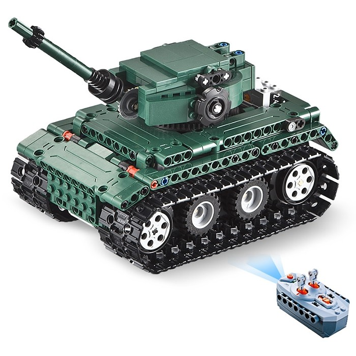 CaDA C51018 DIY Puzzle Strong Power Remote Control Crawler Tank Toy for Children GRAYISH TURQUOISE