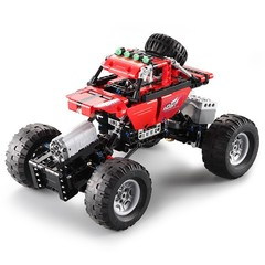 CaDA Assembling Building Blocks Off-road Car Toy with Remote Control LOVE RED