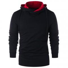 Long Sleeve Color Blocking Hoodie BLACK 2XL