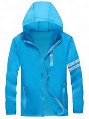 Letter Print Hooded Sunscreen Jacket DEEP SKY BLUE L