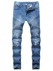 Streetwear Hem Zipper Pleated Ripped Jeans DENIM DARK BLUE 32