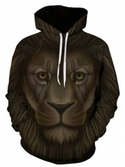 Men's new fashion leisure 3D lion pattern digital printing hooded pocket long sleeve couple hoodie COLORMIX xl