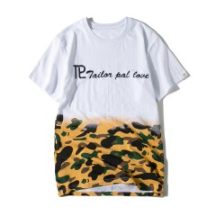 Letter Camo Print Short Sleeve T-shirt WHITE L