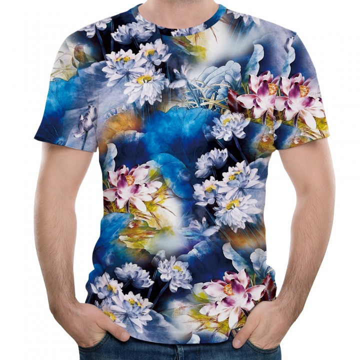 a2e22487d1b4a New Fashion Lotus 3D Printed Men s Short Sleeve T- MULTI 5XL ...