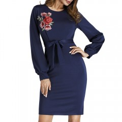 Puff Sleeve Embroidered Mini Bodycon Dress DEEP BLUE XL