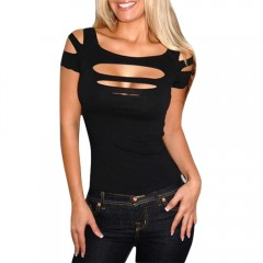 Sexy Scoop Collar Short Sleeve Cut Out Pure Color  BLACK L