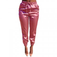 Casual Drawstring Pure Color Pants for Women PINK M