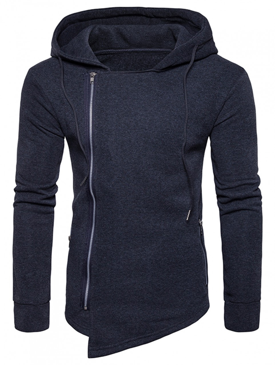 8620a51ee374a6 Hooded Drawstring Asymmetric Zip Up Hoodie BLACK 2XL   Kilimall Kenya