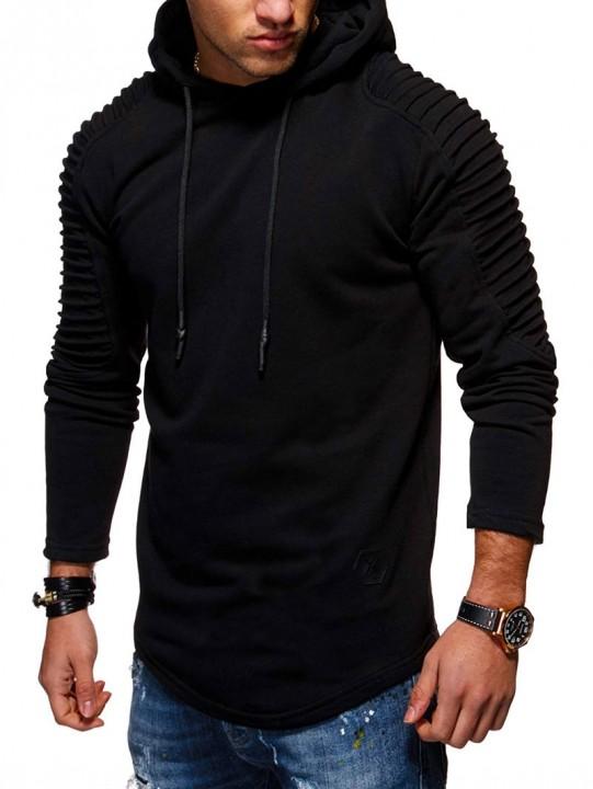 Solid Pleated Sleeve Patch Detail Long Fleece Hood BLACK XL