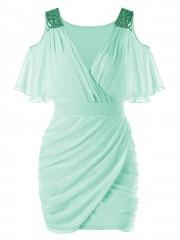 Cold Shoulder Sequins Mini Bodycon Dress MINT GREEN L