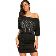 Club Bodycon Dress with Rivets BLACK M