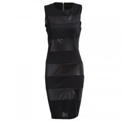 Attractive Jewel Collar Sleeveless PU Leather Spli BLACK 2XL