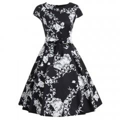Cap Sleeve Floral Print A Line Dress  BLACK XL