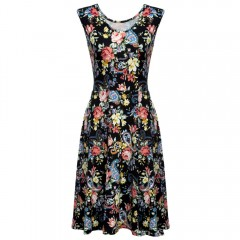 V-Neck Sleeveless Floral Print A-Line Women Vintag BLACK M