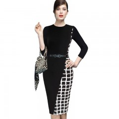 Women's Sheath Dress Plaid Color Block Pencil Dres BLACK L