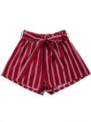 Tie Belt Striped Wide Leg Shorts WINE RED XL