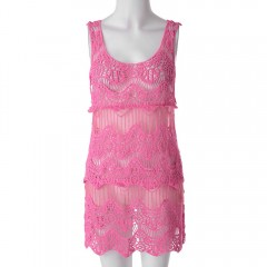Stylish Scoop Collar Sleeveless Solid Color Hollow ROSE ONE SIZE(FIT SIZE XS TO M)