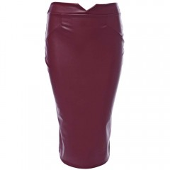 Trendy Mid Waist Pure Color Faux Leather Skinny Wo CLARET M