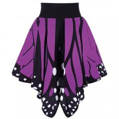 High Waist Butterfly Shape Skirt PURPLE L