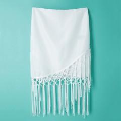 Stylish Zippered Fringed Bodycon Women's Skirt WHITE S