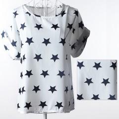 Stylish Short Sleeve Scoop Collar Star Print Chiff WHITE M
